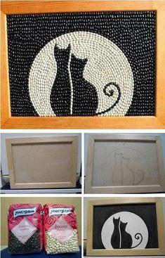 herbstdeko basteln naturmaterialien quadro feito com feijo branco e feijo preto Recycled Art Projects, Art Projects For Teens, Art For Kids, Craft Projects, Easy Crafts, Diy And Crafts, Crafts For Kids, Arts And Crafts, Paper Crafts