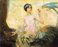 A maiden in contemplation  with thanks to Gaston La Touche ::: Inspiring Artist Study at CAPI ::: Create Art Portfolio Ideas for Art Students at milliande.com