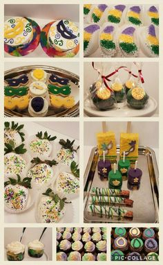 Mardi Gras themed birthday cake. Smash cakes with chocolate mask. Chocolate covered strawberries, Rice Krispie treats, pretzels, Oreos, Apple wedges and marshmallows. Mardi Gras mask cookies, 3 color cake shots and cake pops with gold doubloons. Red velvet cupcakes with Mighty Gras icing and German chocolate cupcakes with fondant bead toppers.