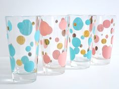 Polka Dot Glassware Pink and Aqua  -  Four Retro Drinking Glass Tumblers  -  50s Pink and Turquoise Barware Tumblers