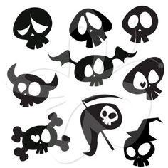 Cartoon Skulls Clip Art Set