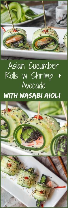 These Asian Cucumber Rolls with Shrimp + Sesame Avocado are served with a Wasabi Aioli and simply brimming with fresh crunchy flavors. The definition of summer flavors. Low carb and healthy. Serve as a light lunch or appetizer. Gluten Free and Dairy Free. | avocadopesto.com