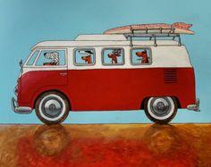 Volkswagen van painting on postcard 155 Red bus folded art card with by Edart on Etsy Vw T3 Camper, Vw Caravan, Campers, Volkswagen Type 3, Vw T1, Combi Ww, T1 Samba, Dachshund, Bus Art