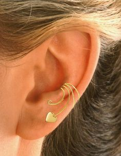 Heart Ear Cuff  Ear Wrap Sterling Silver OR Gold by EarCharms, $15.00