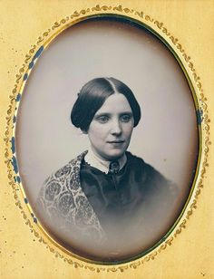 This is an exceptional portrait. Her lovely face and the simplicity of her hair style are very appealing, and of course, the Jenny Lind collar. Her eyes have a slightly entranced appearance.
