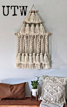 Ready to ship woven wall hanging by Up The Wallflower Large Macrame Wall Hanging, Modern Wall Decor, Wall Hangings, Boho Decor, Mid-century Modern, Etsy Seller, Throw Pillows, Ship, Creative