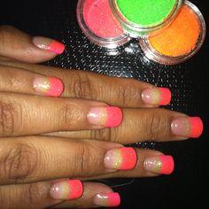 Gels Nails/Pink Tips/Green & Orange Glow In The Dark Glitter