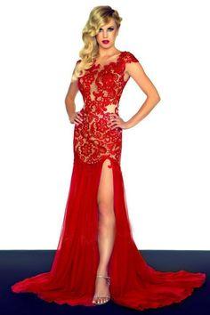 Rochie eleganta de seara din dantele rosie cu spatele gol. Rochie rosie pentru nase.