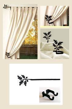 The Acorn Leaf curtain rod has a beautiful autumn silhouette that would be perfect for decorating any room. Made with durable black wrought Leaf Curtains, Curtain Brackets, Decorative Curtain Rods, Acorn, Wrought Iron, Window Treatments, Leaves, Silhouette, Autumn