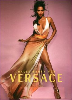 Versace - Halle Berry in ombre flowing feminine sexy dress