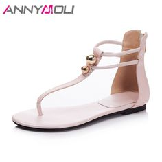 627417d14a25 ANNYMOLI 2018 Summer Shoes Cow Leather Women Sandals Ankle Strap Shoes  String Bead Flats Sandals Zipper Flip Flops Beach Shoes-in Women s Sandals  from Shoes ...