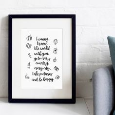 'Travel The World With You' Typographic Print