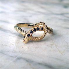 Serpent Ring in 14k Yellow Gold w/5 Black Diamonds