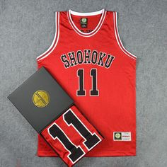 Slam Dunk Rukawa Kaede NO.11 Basketball Jersey (RED + WHITE + BLACK + GREEN) Can Choose Shorts