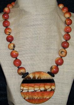 Apple Coral Bead Statement Necklace with Large Pendant ca 1970s