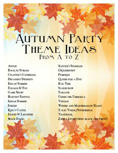 autumn party ideas