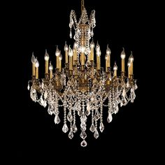 "Elegant Lighting 9224D36FG/EC Rosalia Collection Dining Room Large Hanging Fixture D36"" x H36"" French Gold Finish (Elegant Cut Crystals)"