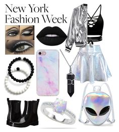 """New York Fashion Week - Iridescent and Black!"" by casyneecandy ❤ liked on Polyvore featuring Tory Burch, Sans Souci, WithChic, Lime Crime, Bling Jewelry and Lokai"