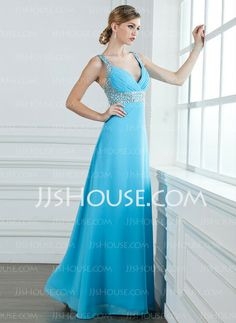 Prom Dresses - $142.99 - A-Line/Princess V-neck Floor-Length Chiffon  Charmeuse Prom Dresses With Ruffle  Beading (018004840) http://jjshouse.com/A-line-Princess-V-neck-Floor-length-Chiffon--Charmeuse-Prom-Dresses-With-Ruffle--Beading-018004840-g4840