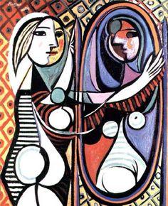 파블로 피카소,   < Girl Before A Mirror > , 1936 ---    1936년에 그린 이 그림은 피카소의 입체파 시절의 그림이다. <거울 앞의 소녀>라는 제목에서 알 수 있듯이 작품 속 인물은 대칭적 구도를 지니는데, 이는 입체파적인 다원적 시점과 초현실적인 기법을 통해 단조로움과 경직된 분위기로부터 벗어났다. 이 그림에서는 색채와 기하학적 도형의 형태와 패턴, 선적 리듬이 강렬한데, 이는 거울 속 자신의 모습을 들여다보고 있는 소녀가 왠지 모를 신비로운 분위기를 가지는 데에 기여한다.