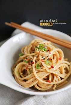 sesame almond noodles. can add any kind of noodles! even zucchini noodles or quinoa noodles! :)