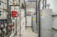 Mechanical Room Basement Systems, Utility Room Designs, Heat Pump System, Mechanical Room, Infrared Heater, Laundry Room Cabinets, Room Doors, Heating Systems, Plumbing