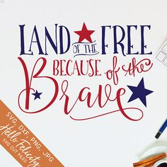 of July Svg Svg files for Cricut Land of the Free Svg Because of the Brave Dxf Silhouette of July Shirt Vinyl Decal Clip Art Fourth Of July Shirts, 4th Of July, Land Of The Free, Svg Files For Cricut, Cricut Vinyl, Cricut Stencils, Cricut Craft, Svg Cuts, Independence Day