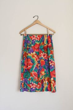 Floral Print Skirt by fieldvintage on Etsy
