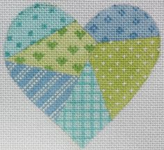 Mini Patchwork Heart- Soft Turquoise, Blues & Greens