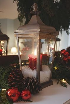 Lantern with candle and faux snow (epsom salt?) from It's the little things that make a house a home