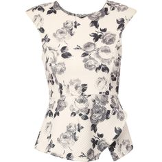 Jane Norman Floral Print Peplum Top ($34) ❤ liked on Polyvore featuring tops, shirts, blouses, peplum, white, white peplum shirt, floral top, floral peplum shirt, flower print shirt and flower print tops