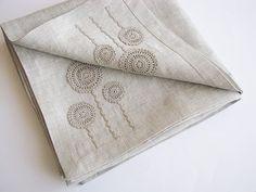 Linen tablecloth square handmade crochet classic by daiktuteka