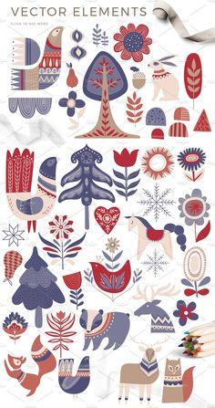 Scandinavian Winter cards, clipart and patterns in nordic folklore style. This winter set is great for stylish Сhristmas. 80 vector and raster elements: deers, Art And Illustration, Illustration Inspiration, Pattern Illustration, Christmas Illustration Design, Watercolor Illustration, Scandinavian Pattern, Scandinavian Folk Art, Scandinavian Christmas, Scandinavian Embroidery