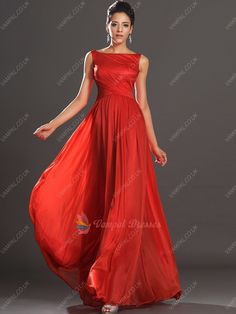 126.00$  Buy here - http://vibfy.justgood.pw/vig/item.php?t=rp90wn19304 - Red Bateau Neck Open Back Sleeveless Chiffon Long Prom Dresses