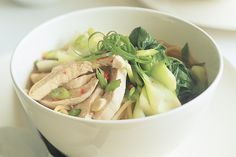 fresh Asian greens with chicken and noodles