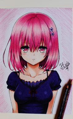 Decided to do a drawing of the wonderful Momo from ''To love ru'', because she's my favourite. She really spiced up the anime/manga for me. Hope you enjoy the drawing. To Love Ro, To Love Ru Momo, Motto To Love Ru, Otaku Anime, Anime Art, To Love Ru Darkness, Waifu Material, Anime Couples Drawings, Color Pencil Art