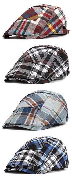 Men Unisex Cotton Lattice Pocket Design Beret Hat Casual Painter Plaid Flat  Caps Adjustable 02669d9589f2