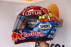 Catalunya special helmet paint job of Repsol Honda MotoGP rider Marc Marquez.