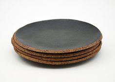 Ceramic Side Plate Black Stoneware Plate by susansimonini