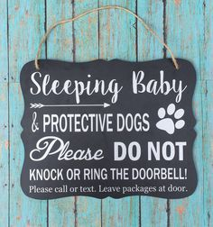 Sleeping Baby & Protective Dog Door by customcraftzshop on Etsy Baby Door Signs, Baby Sleeping Sign, Protective Dogs, No Soliciting Signs, Baby Door Hangers, Baby Needs, Baby Decor, Future Baby, Just In Case