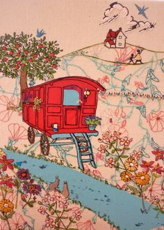 gypsy caravan embroidery - I LOVE this :D Embroidery Art, Embroidery Applique, Cross Stitch Embroidery, Embroidery Patterns, Machine Embroidery, Applique Quilts, Gypsy Caravan, Gypsy Wagon, Fabric Art