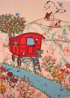 gypsy caravan embroidery, via Flickr.