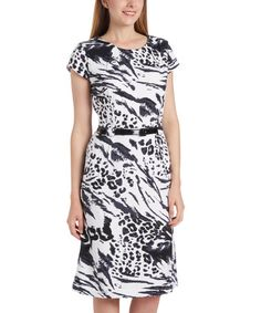 This Black & White Zebra Belted Cap-Sleeve Dress is perfect! #zulilyfinds
