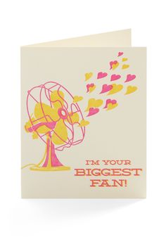 I'm your biggest fan. Letterpress card by Hello Lucky. Valentine Day Crafts, Love Valentines, Funny Valentine, Cute Cards, Diy Cards, Funny Cards, Friendship Cards, Homemade Cards, Letterpress