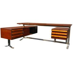 Executive desk by Gianni Moscatelli for FORMANOVA, Rosewood on heavy steel base (nickel plated) ...timeless.....1970