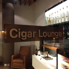 The Cigar Lounge inside the Lufthansa First Class Lounge in Munich.
