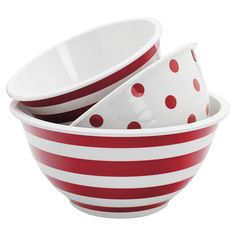 Mix cookie batter and toss salad in this essential 3-piece mixing bowl set, showcasing stripes and polka-dot motifs.   Product: