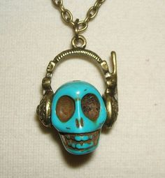 SKULL with Headphones NECKLACE DJ Skeleton Day Of Dead by artalot, $18.27