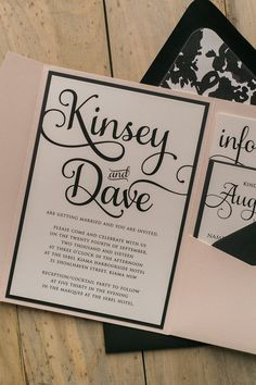 Blush and Black Letterpress Watercolor Floral Wedding Invitations by Just Invite Me
