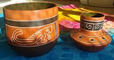 2-pots-en-terre-cuite-motifs-peints-graves-faits-main-Art-Deco-Mexique-2-dishes